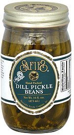dill pickle beans hand packed Safies Nutrition info