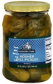dill pickles kosher, whole Midwest Country Fare Nutrition info