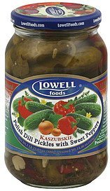 dill pickles polish, with sweet peppers, kaszubskie Lowell Foods Nutrition info