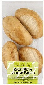 dinner rolls rice bran, plain Deerfields Bakery Nutrition info