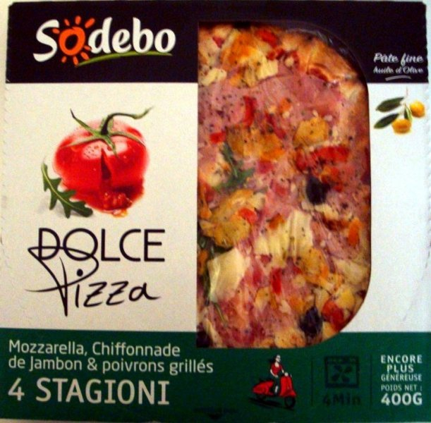 dolce pizza 4 stagioni Sodebo Nutrition info
