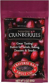 dried cranberries Traverse Bay Fruit Co. Nutrition info