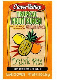 drink mix tropical fruit punch Clover Valley Nutrition info