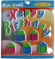 edible icing decorations happy birthday assortment Dec a cake Nutrition info