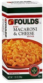 elbow macaroni & cheese dinner Foulds Nutrition info