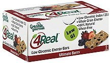energy bars low glycemic, ultimate berry Granola Gourmet Nutrition info