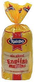 english muffins sliced Rainbo Nutrition info