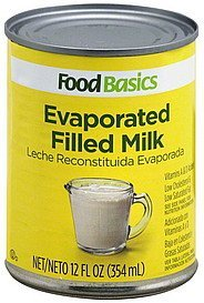 evaporated filled milk Food Basics Nutrition info