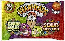 extreme sour hard candy/sour chewy cubes War Heads Nutrition info