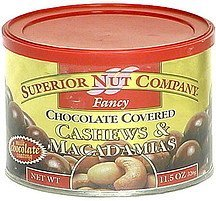 fancy, chocolate covered cashews & macadamias Superior Nut Company Nutrition info