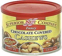 fancy, chocolate covered cashews Superior Nut Company Nutrition info