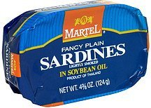fancy plain sardines in soybean oil, lightly smoked Martel Nutrition info