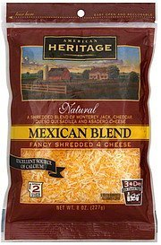 fancy shredded cheese mexican blend American Heritage Nutrition info