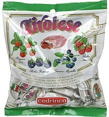 filled candies with natural wild fruits juices Cedrinca Nutrition info