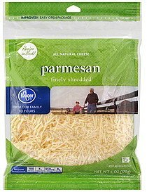 finely shredded cheese all natural, parmesan Kroger Nutrition info