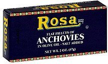 flat fillets of anchovies in olive oil, salt added Rosa Nutrition info