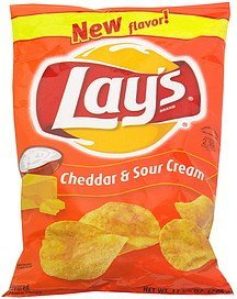 flavored potato chips cheddar sour cream, pre-priced Lays Nutrition info