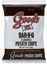 flavored potato chips potato chips, bar-b-q Goods Nutrition info