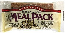 food bar coconut almond meal pack Bear Valley Nutrition info