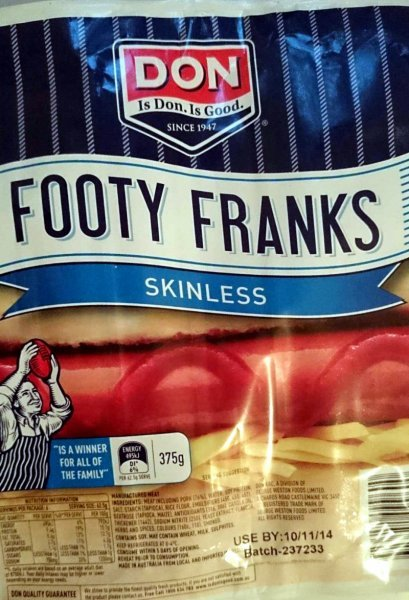footy franks skinless Don Nutrition info