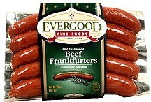 frankfurters beef, old fashioned, naturally smoked Evergood Fine Foods Nutrition info