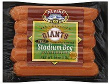 frankfurters stadium dog, beef, san francisco giants Alpine Meats Nutrition info