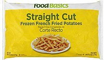french fried potatoes frozen, straight cut Food Basics Nutrition info
