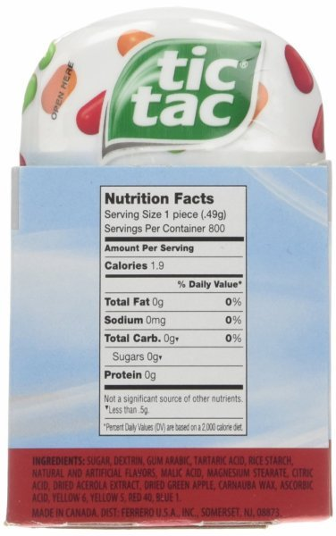Calories In Tic Tac Fruit Adventure  Nutrition Facts