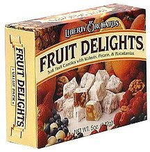 fruit delights candy with walnuts, pecans, macadamias Liberty Orchards Nutrition info