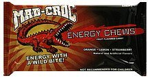 fruit flavored candy energy chews, orange, lemon, strawberry Mad-Croc Nutrition info
