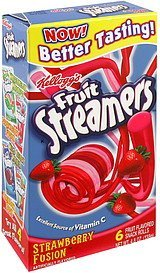 fruit flavored snack rolls strawberry fusion Fruit Streamers Nutrition info