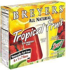 fruit ice bars tropical fruit Breyers Nutrition info