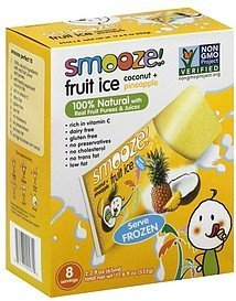 fruit ice coconut + pineapple Smooze! Nutrition info