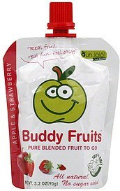 fruit to go pure blended, apple & strawberry Buddy Fruits Nutrition info