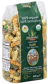 fusilli vegetable Bioitalia Nutrition info