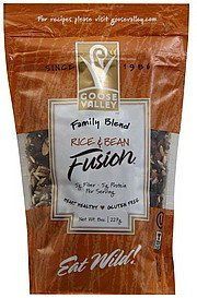 fusion rice & bean, family blend Goose Valley Nutrition info