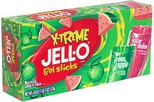 gel sticks green apple & watermelon, variety pack Jell-o Nutrition info