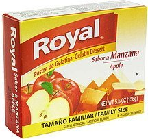 gelatin dessert apple, family size Royal Nutrition info