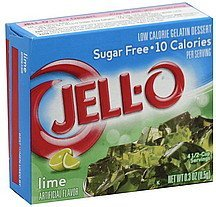 gelatin dessert low calorie, sugar free, lime Jell-o Nutrition info