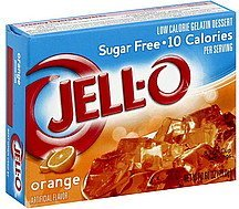 gelatin dessert low calorie, sugar free, orange Jell-o Nutrition info