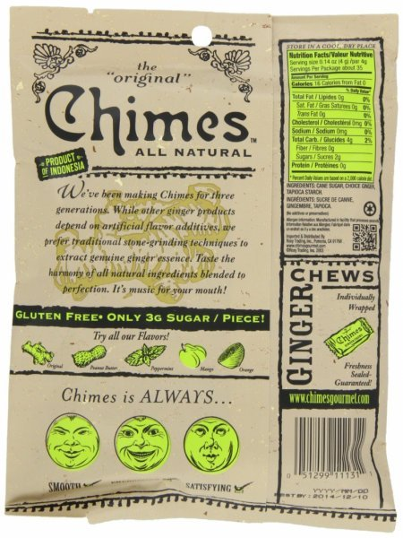 Chimes ginger chews nutrition