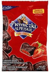 gingerbread dark chocolate covered, with strawberry filling Pierniczki Alpejskie Nutrition info