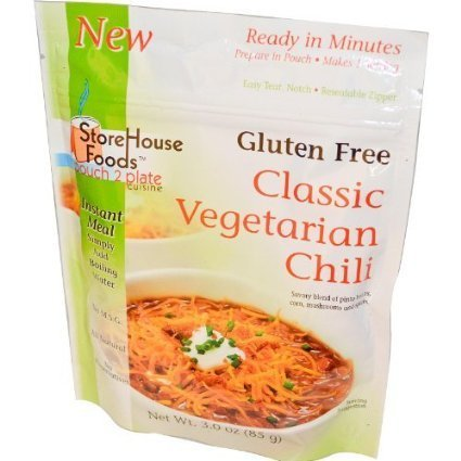 gluten free chili classic vegetarian Storehouse Foods Nutrition info