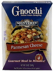 gnocchi parmesan cheese Monterey Pasta Company Nutrition info