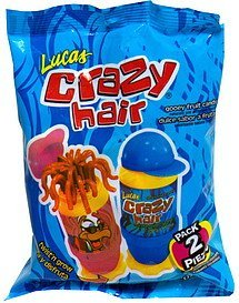 gooey fruit candy crazy hair, assorted flavors Lucas Nutrition info