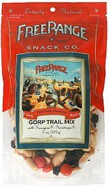 gorp trail mix with sunspire sundrops Free Range Snack Co. Nutrition info