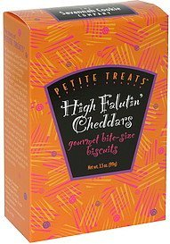 gourmet bite-size biscuits high falutin' cheddars Petite Treats Nutrition info