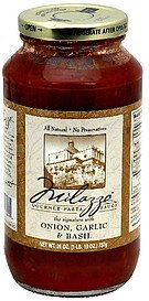 gourmet pasta sauce the signature with onion, garlic & basil Milazzo Nutrition info