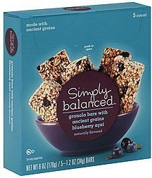 granola bars ancient grains, blueberry acai Simply Balanced Nutrition info