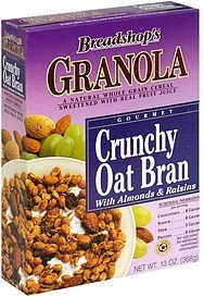 granola crunchy oat bran with almonds & raisins Breadshop Nutrition info